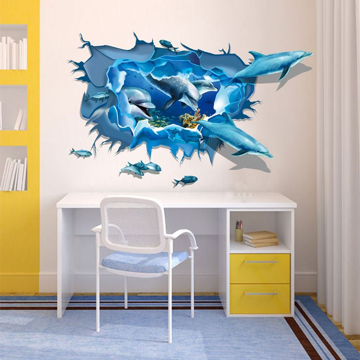 Large size green wall stickers bedroom living room creative wallpaper stickers 3D dolphins group wall stickers