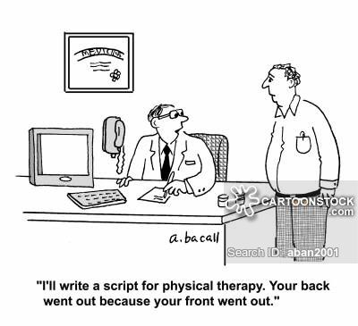 CartoonStock.com:+'I'll+write+a+script+for+physical+therapy.+Your+back+went+out+because+your+front+went+out.'