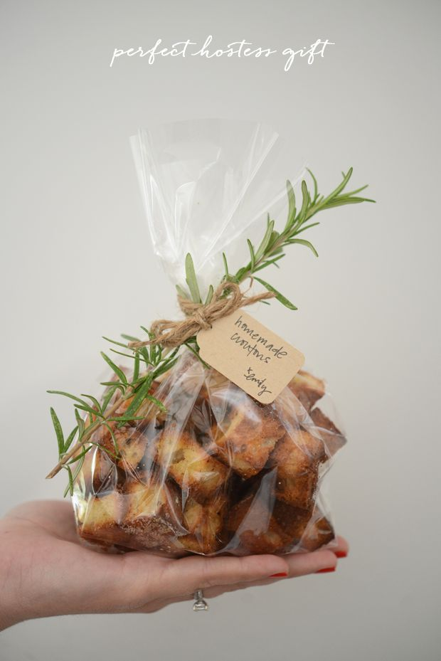 My Favorite Inexpensive Hostess Gift: I cut a day-old loaf of sourdough into cubes, spread them into a single layer on a baking sheet, drizzle with olive oil, sprinkle a bit of salt and bake for 12-15 minutes at 400°. I package them in a cellophane bag with a little tag and a small rosemary branch!