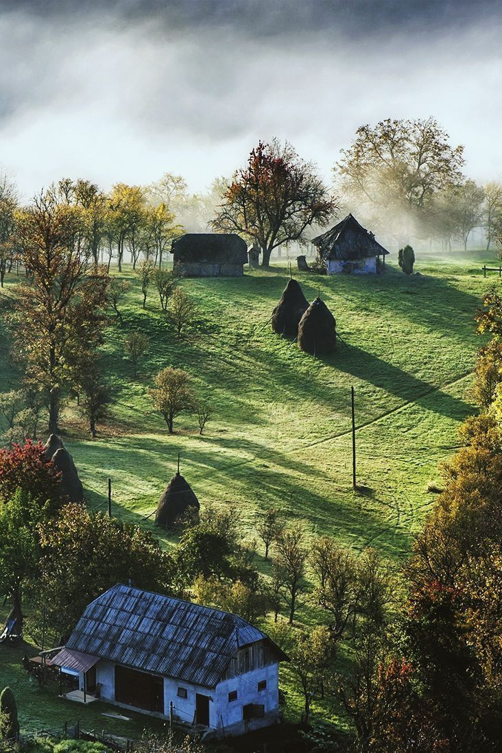 Beautiful countryside in the morning - Maramures, Romania