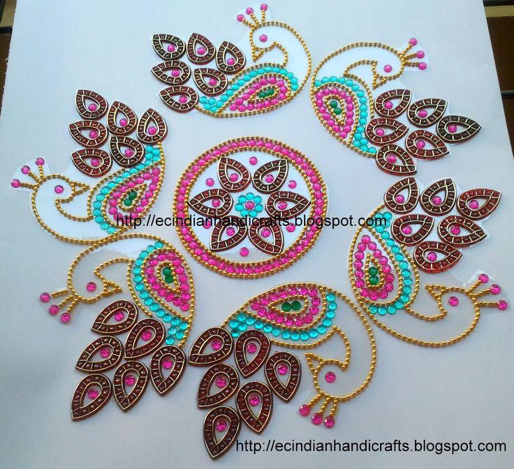 EC Indian Handicrafts' (Customised kundan rangolis): Peacock design kundan rangoli