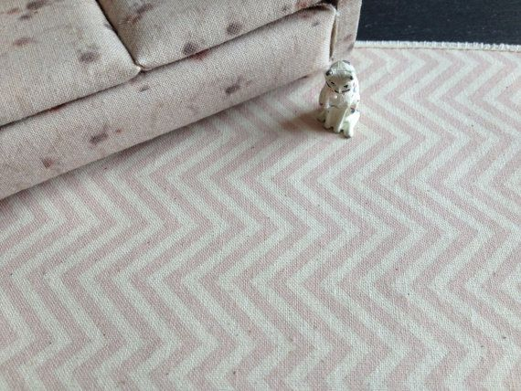 Dolls House Miniature Pink Chevron Rug by Artistique on Etsy, £15.00