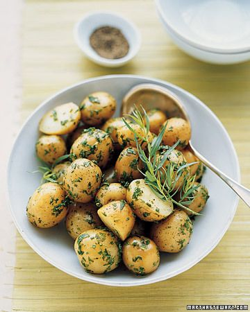 Summer Herb Potato Salad. Making this for a BBQ tonight. I am using chives and rosemary, and I added some powdered garlic. Yummy!