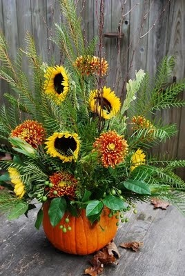 Using a pumplin for a container is great. Be sure to put a dish of some kind or a plastic butter tub to hold the water and oasis. This arrangement doesn't use a lot of flowers to keep the expense down. Very nice.