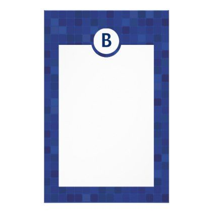 Blue mosaic pixel stationery paper  $0.85  by MoonlightDrops  - cyo customize personalize diy idea