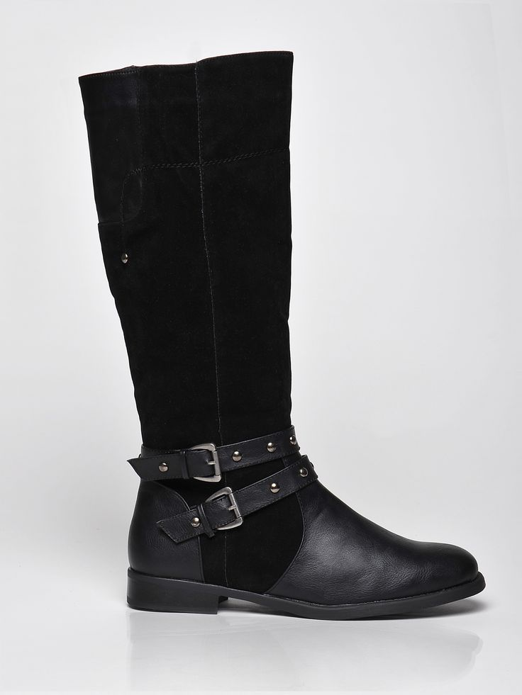 Top Secret black low heel boots metallic spikes, metallic spikes, buckles accessories, slightly round toe tip, low heel, insole material: fabric textil, upper material: ecological leather, women`s boots