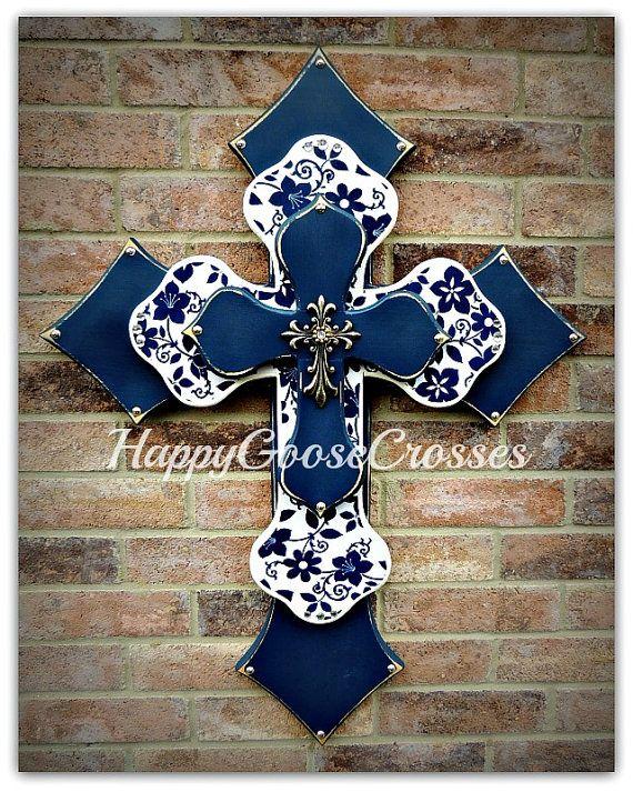 Wall CROSS - Wood Cross - Navy & White floral cross www.happygoose.etsy.com