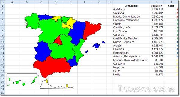 Representar Tus Datos Sobre Un Mapa En Excel Mapas Plantillas Excel Informática