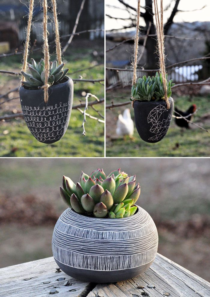 Poppytalk - The beautiful, the decayed and the handmade: Earthenware Hanging Planters