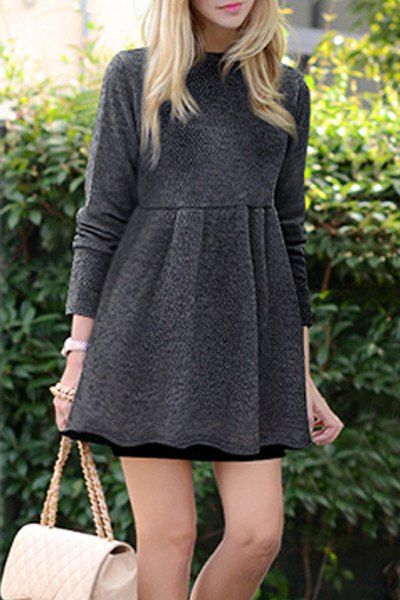 Fashionable Long Sleeve Round Neck Flare Dress For Women