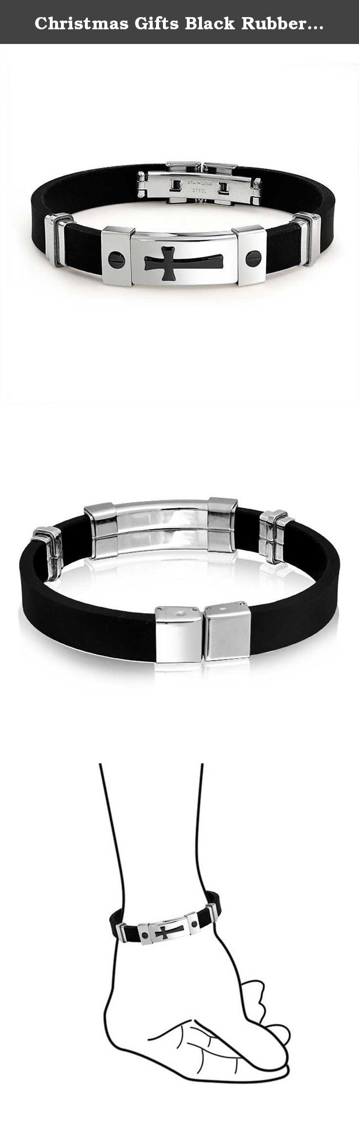 Christmas Gifts Black Rubber Stainless Steel Mens Sideways Cross ID Bracelet. If you are looking for a great, new piece of cross jewelry to help show off your faith in style, you have come to the right place. With stainless steel accents, our sideways cross bracelet is made with black IP plating, to give it a lovely two toned look you will love. Because it is made of rubber, our stainless steel ID bracelet is very lightweight, smooth and comfortable on your wrist. Buy one of our black…