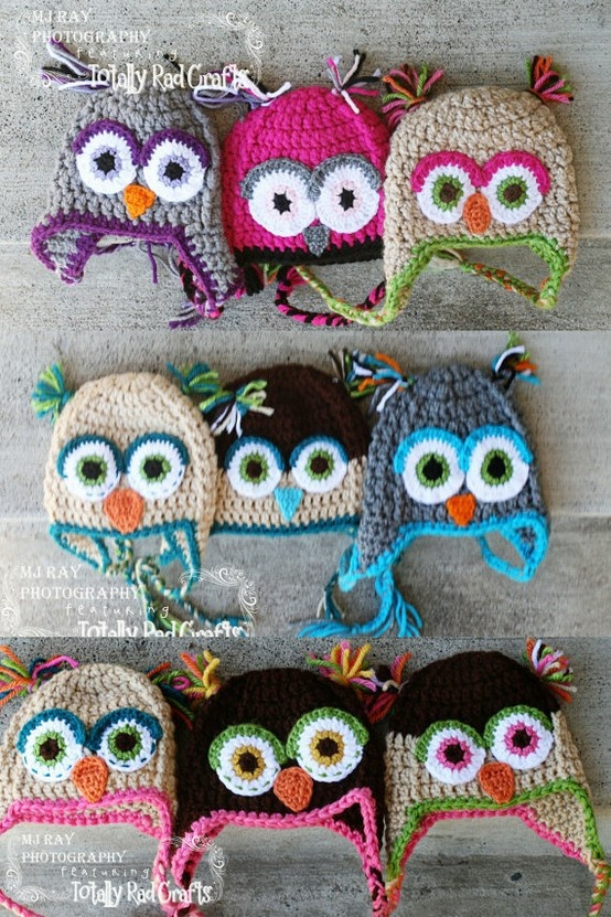 Owl crochet hats for babies