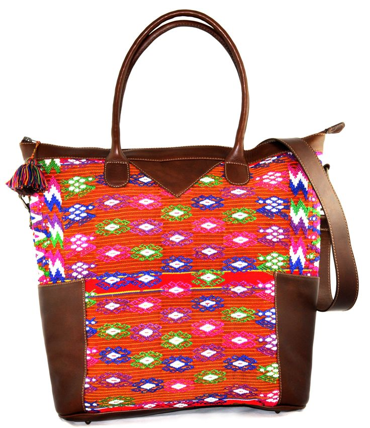 The Huipil Weekender Tote made from repurposed huipil and premium leather is perfect for a weekend getaway or as an everyday bag if you are on the go!