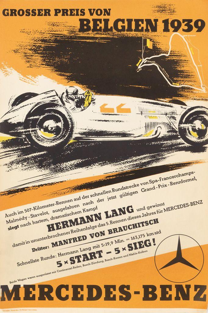 GROSSER PREIS VON BELGIEN - MERCEDES - vintage poster, 1939