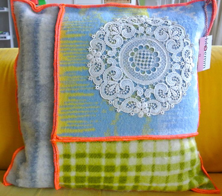 Handmade cushion (50x50 cm), made of vintage woolen blankets - by bloemm