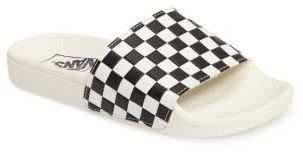Womens Slides - Vans | Vans Slide On Flip Flops Checkered White and Black with a White Sole