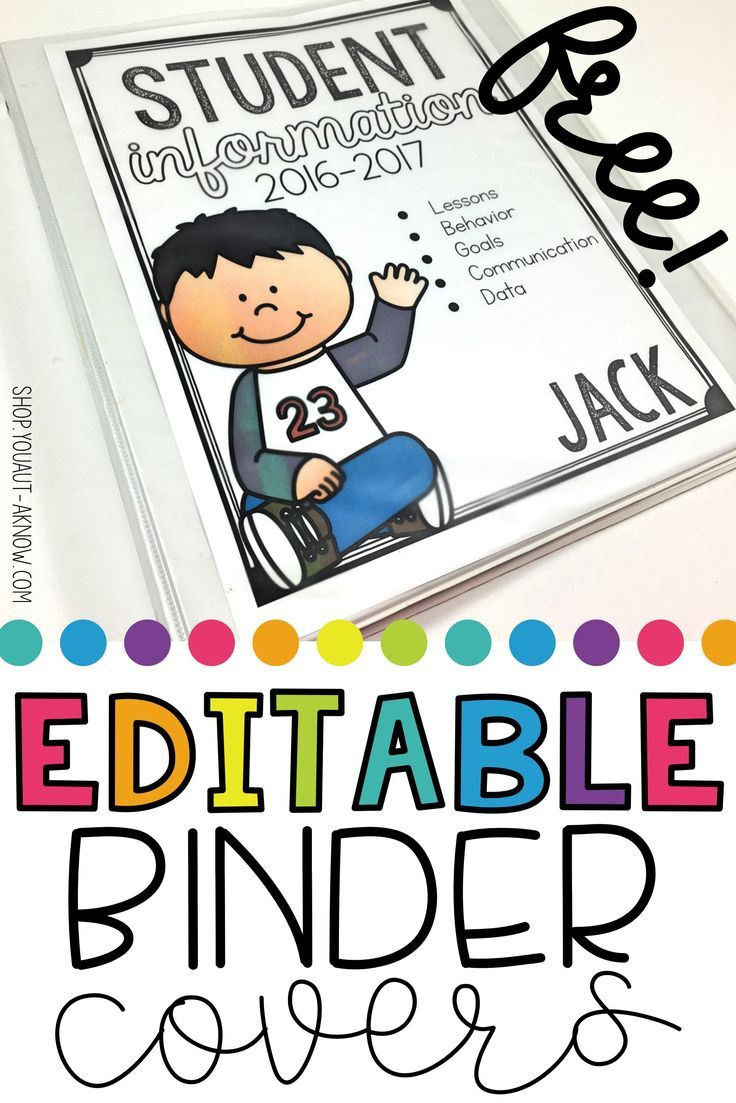 Do you keep a student data binder in your Special Education classroom? Grab these free editable covers to use when organizing student data!