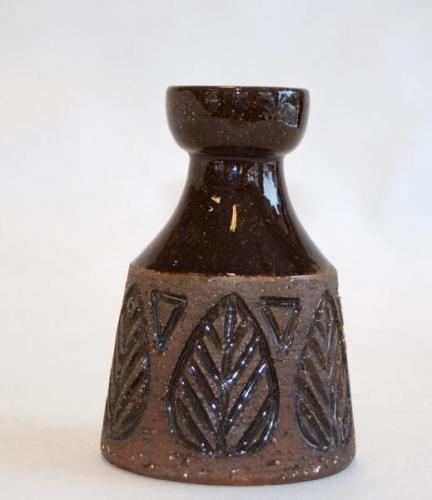 Stemplet Laholm vase i stengods hyde 12cm diameter bunn 8cm