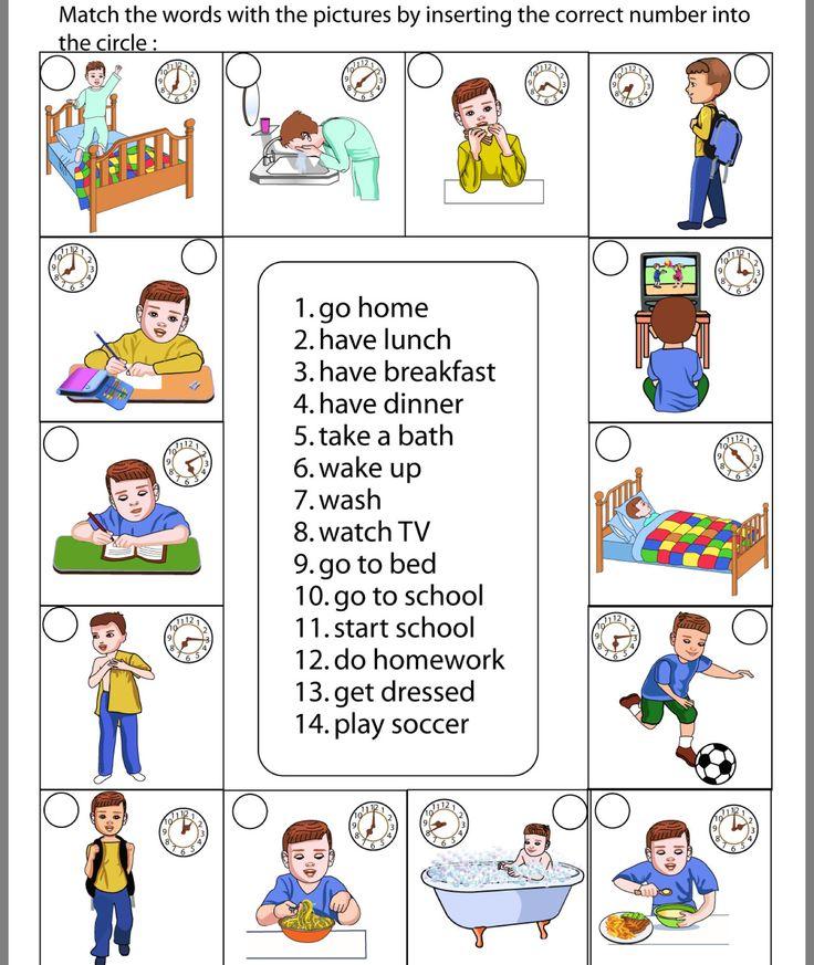 расписание дня на английском картинки ладно