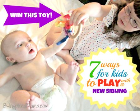 How do your kids play with their baby brother or sister? Here are 7 tips for kids to play with their new sibling.  And a great giveaway for your choice of wooden kids toy from MamaMayi!  B-InspiredMama.com: Kids Plays, Reviews, Plays Time, Activities Kids, Baby Brother, Older Kids, Baby Siblings, Inspiration Mama, Kids Toys