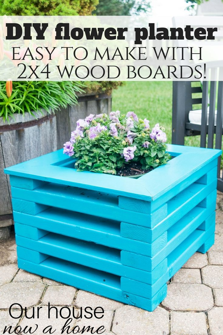 DIY flower planter using low cost 2x4 wood boards. Simple to make with amazing results! Perfect for any outdoor space. A group of DIY bloggers got together to share their best 2x4 projects, so many amazing ideas!