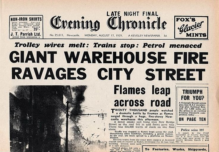 NEWSPAPER HEADLINES etc : Old Newspaper articles from times past in Newcastle and the North East - SkyscraperCity: Photo Manorsgoodsyardfir 1 Jpg