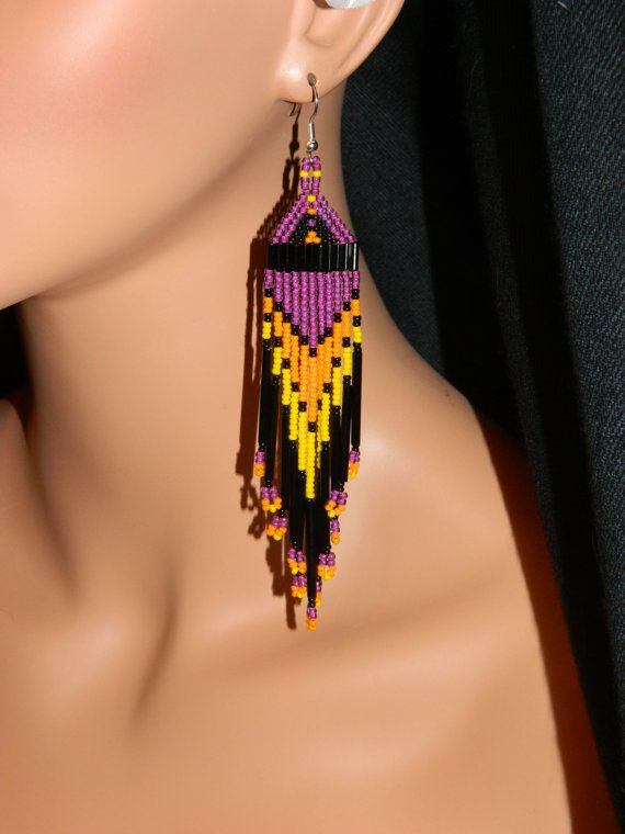 NEW Native American Beautiful Deep Purple Dangle Beaded Earrings w/ Long Black Bugles