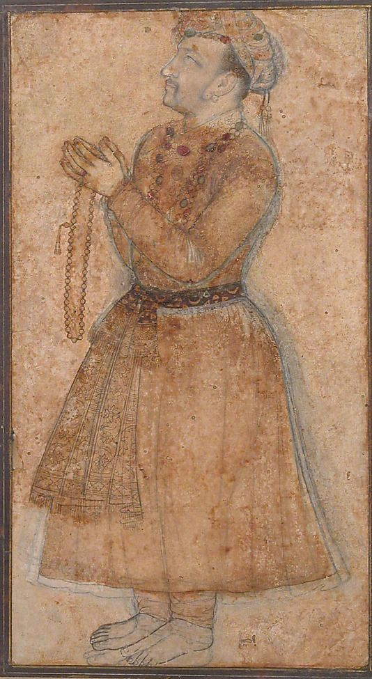 Portrait of Emperor Jahangir Praying Object Name: Illustrated single work Date: early 17th century Geography: India Culture: Islamic Medium: Ink and gouache on paper Dimensions: 10 1/2 x 5 3/4in. (26.7 x 14.6cm) Classification: Codices Credit Line: H. O. Havemeyer Collection, Gift of Horace Havemeyer, 1929 Accession Number: 29.160.19