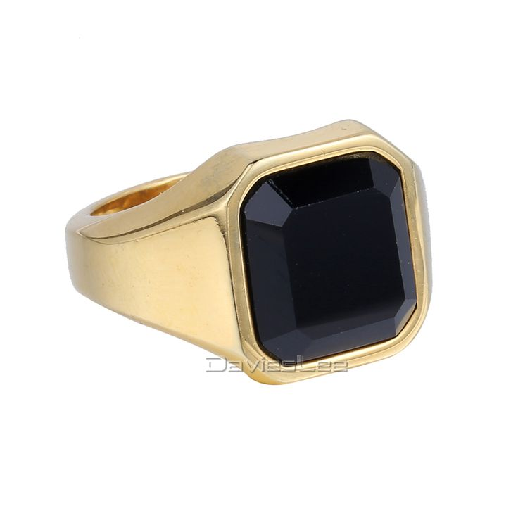 16mm Smooth Mens Boys Black Gold Silver Tone 316L Stainless Steel Signet Ring Black CZ Wholesale Jewelry US Size 7-12 LHR373