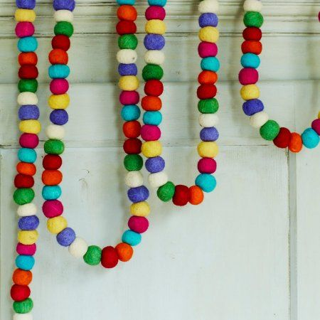 Pom Pom Felt Garland | Christmas Decorations | Graham & Green