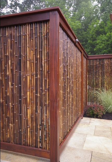 "bamboo fence"" Looks like this could be made easily to any dimension with some treated wood, screws & some stain!"
