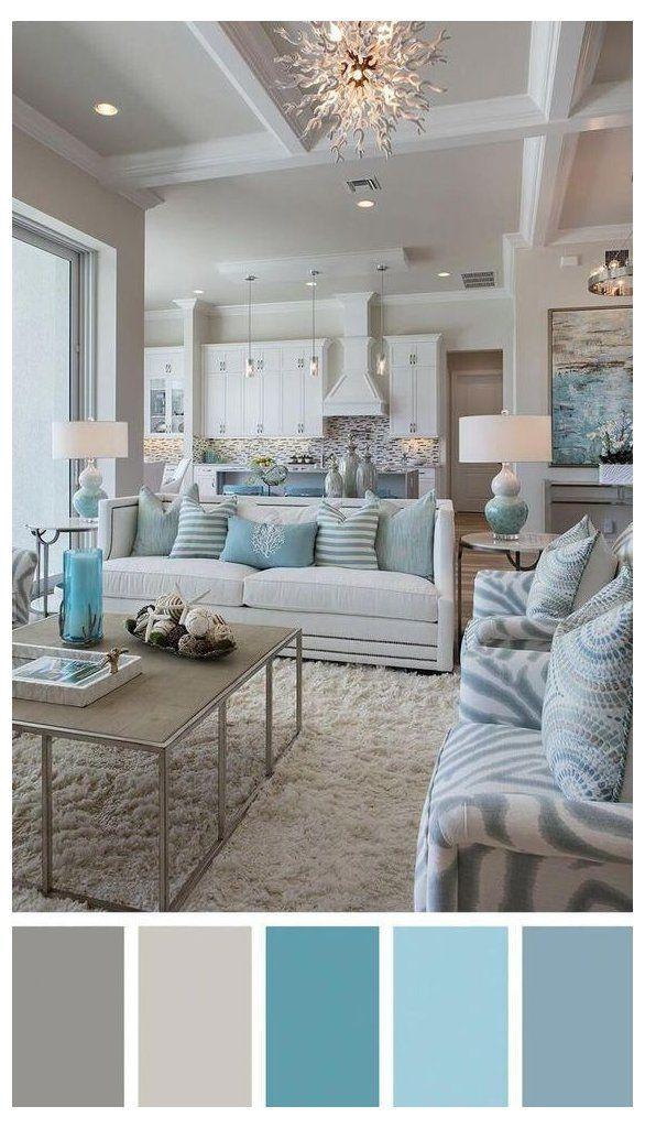 Chic Coastal Living Room In White Aqua Gray Living Room Furniture Color Palette In 2021 Color Palette Living Room Coastal Living Rooms Farm House Living Room