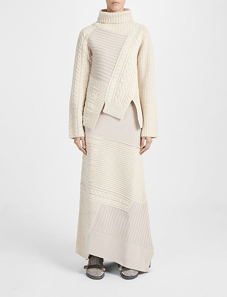 Patchwork High Neck Sweater in soft and chunky oatmeal wool