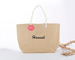 Natural Jute Tote Bag - Personalization Available