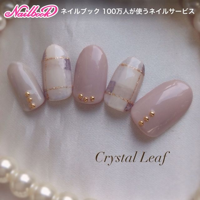#mani #neutral #plaid #lavender