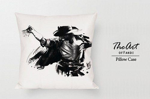 "Michael Jackson black art - Custom Square 18""x18"" One Side Pillow Case"