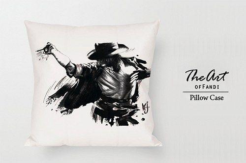 "Michael Jackson black art - Custom Square 18""x18"" One Side Pillow Case"