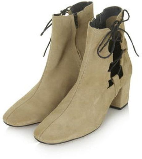 Topshop Madrid Ghillie Side Tie Boots in Beige (TAUPE)