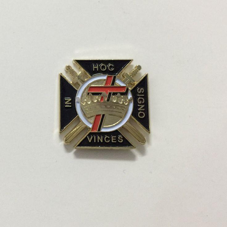 "10pcs Freemasonry Knights Templar York Rite logo pin badge 1"" Diestruck enamel Gold plating masonic brooch lapel pins craft"