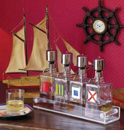 Nautical Bar Paint Bottles With Nautical Flags Craft
