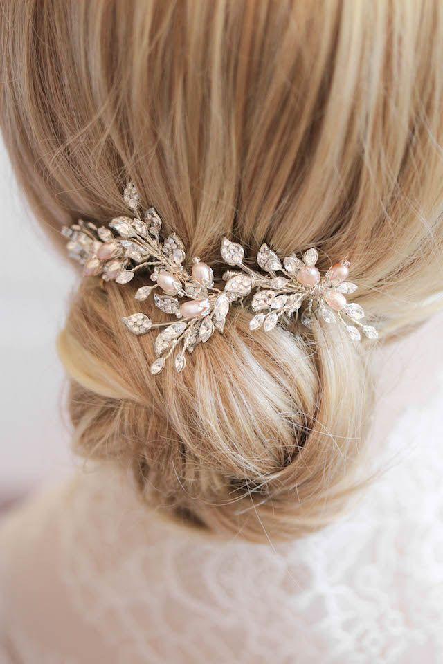 Blushing Beauties   Silver and blush bridal hair combs