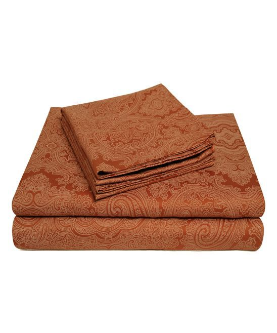 Pumpkin Italian Paisley Sheet Set