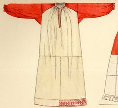 Tilke does give a drawing of the chemise and its cut. In Russian this garment is called Rubacha. Kaluga