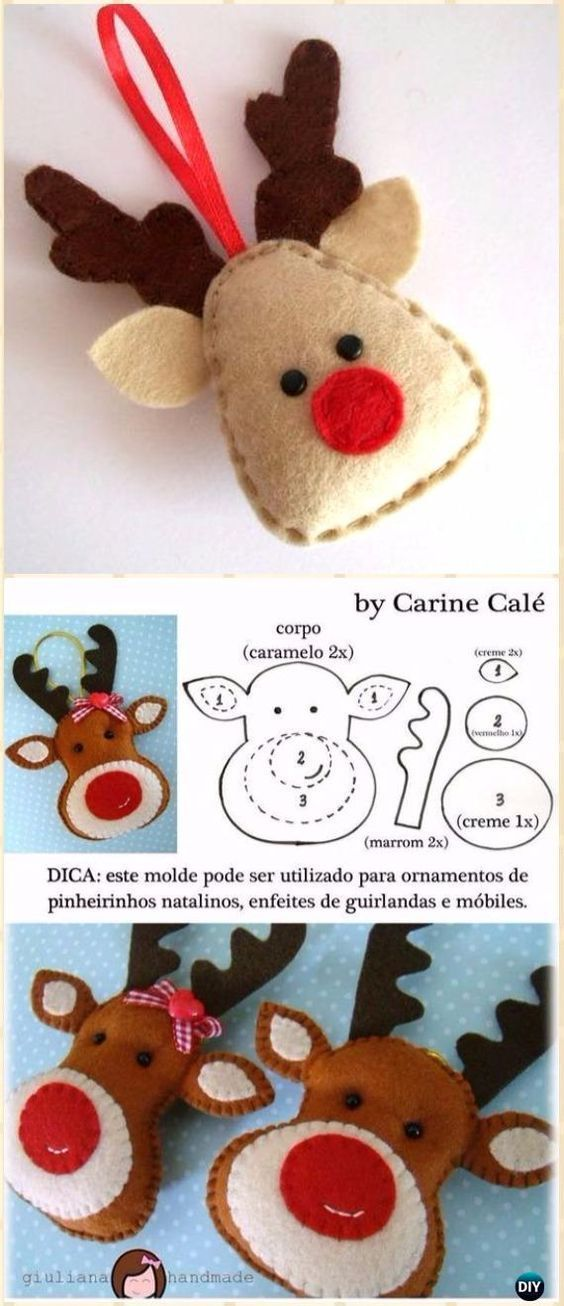 DIY Felt Reindeer Head Ornament Instructions - DIY Felt Christmas Ornament Craft Projects [Picture Instructions] #feltcrafts