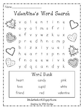 Kindergarten Valentine's Day Word Search **FREEBIE**