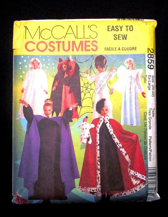 Halloween Costume Pattern McCalls 2859 Adult Size 20 22 Witch