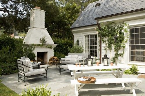 Back patio love - slate, fireplace