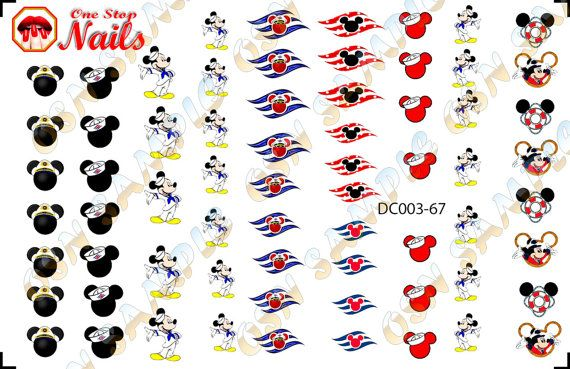 Disney Cruise Nail Art Decals. Tattoo Mickey Nail by OneStopNails
