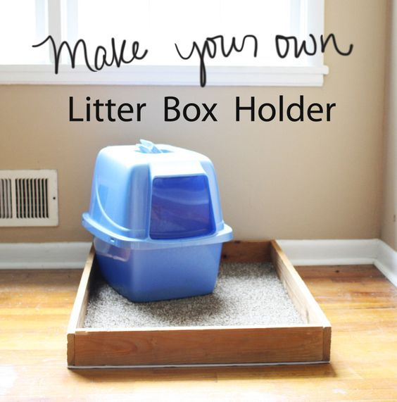 Make your own Litter Box Holder! Easy and WONDERFUL! This works like a charm!