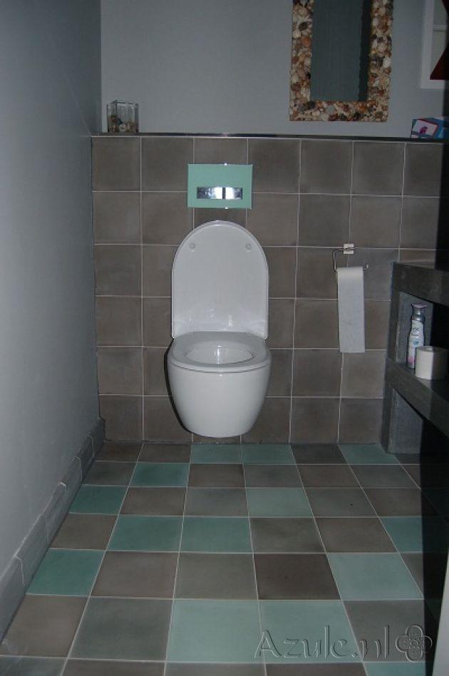 Cementtiles Toilet - Egal Olive S6.6 - Egal Taupe S7039 - Project van Designtegels.nl